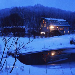 Barn house in the snow art print